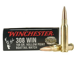 Winchester Supreme Ammunition 308 Winchester 168 Grain Hollow Point Boat Tail Match